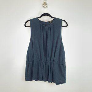 J. Crew Raised Dot Peplum Sleeveless blouse XL